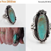 ON SALE Vintage Carol Felley Sterling Silver & Turquoise Ring, Southwestern, Native American, Dated 1996, Size 8 1/2, Large, Impressive! #b8