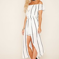 Reverse Striped Overlay Romper