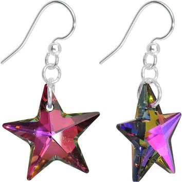 Volcano Crystal Star Dangle Earrings Created with Swarovski Crystals