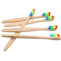 Colorful Wooden Rainbow Bamboo Toothbrush 4pcs
