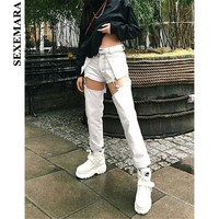 BOOFEENAA Metal Buckle Cut Out High Waist Straight Jeans Pants Woman Streetwear Black White Denim Sexy Pants Women C87-AI46