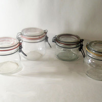 Snap Lid Glass Jars from France and Italy, Vintage Collectible Glassware