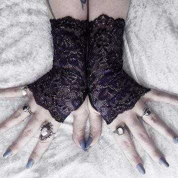 Anais Lace Fingerless Gloves - Navy Indigo Floral Gold Cording - Gothic Vampire Wedding Lolita Elegant Dark Tribal Burlesque Bohemian