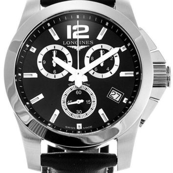 Longines Conquest 41 Chronograph Black Leather Watch L36604563 / L3.660.4.56.3