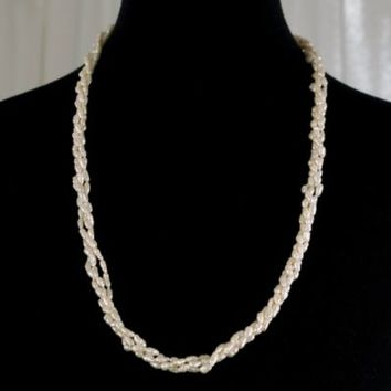 Faux Natural Pearl Necklace 3 Strand Twisted Contiguous 27 inches