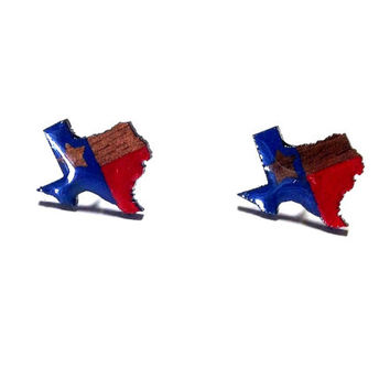 Texas State Earring Studs, Texas earrings, Texas flag earrings, Wood Earring Studs, Wood Laser earrings, Hand painted studs, Texas Studs