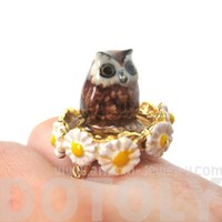 Baby Barn Owl Shaped Ceramic Porcelain Animal Ring with Daisy Textured Border | Limited Edition