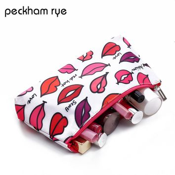 PECKHAMRYE women waterproof toilet Bags lips Printing Cosmetics bag Makeup Bags Pouchs For Travel Ladies make up bags