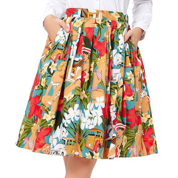 Women Midi Skirt 2017 Runway Vintage Rockabilly Skirts Womens Sexy Pinup 50S 60S Cotton Polka Dot Floral Pattern Skirts Summer