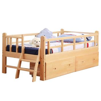 Wooden children's with guardrail crib single boy girl princess baby widened stitching bed