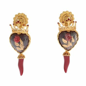 Dolce & Gabbana Gold Red Crystal Roses Heart Dangling Clip On Earring