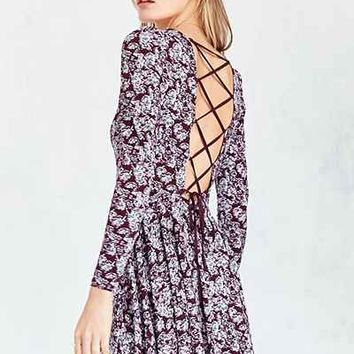 Kimchi Blue Katryna Floral Lace-Up Back Mini Dress - Urban Outfitters