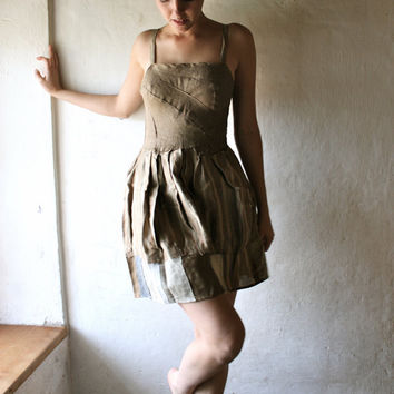 Natural Linen party dress with pleated bodice by larimeloom
