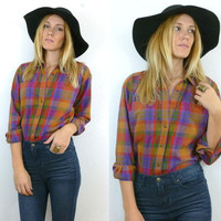 Vtg 80s Multi Color Plaid FLANNEL Liz Sport Long Sleeve Button Up Blouse size xs-small