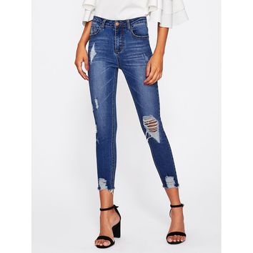 Girl On The Go Bleached Distressed Jeans - Blue