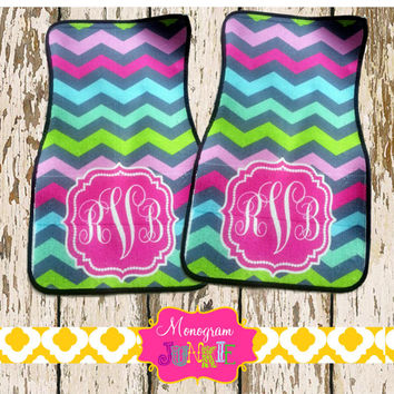 Personalized Monogrammed Chevron Car Mats- Vibrant Colors, Set of 2~