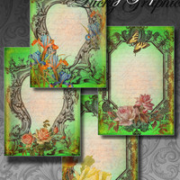 Digital Collage Sheet - Green frames - Printable Greeting Card - Digital Images for Post cards, Jewelry Holders, Gift Tags - Set 103
