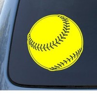 SOFTBALL - Car, Truck, Notebook, Vinyl Decal Sticker #1303 | Vinyl Color: Yellow