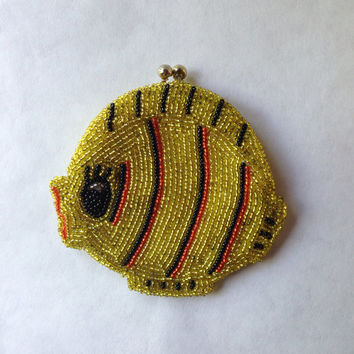 Vintage fish beaded coin purse, change purse