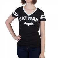 Batman Logo with Bat Women's Varsity V-Neck T-Shirt Officially Licensed by Bioworld