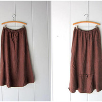 Vintage FLAX Skirt Brown Linen Skirt Long Minimal Midi Skirt Modern Simple Linen Skirt Copper Blue Woven Flowy Skirt Women's Medium Large