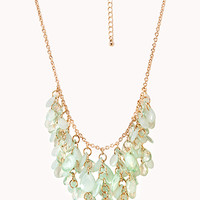 FOREVER 21 Cascading Beaded Bib Necklace Mint/Gold One