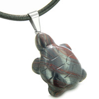 Good Luck Charm Turtle Amulet Tiger Iron Healing Powers Leather Pendant Necklace