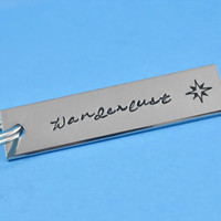 Wanderlust - Hand Stamped Aluminum Keychain, Personalized Gift, Traveller's Gift