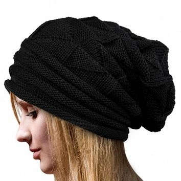 Simple Oversized Thermal Winter Hat for Women