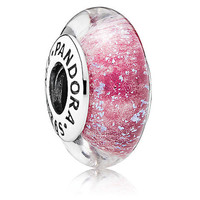 disney parks frozen anna pandora pink murano glass jewerly charm new with tags