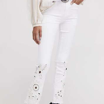 Cutwork Cigarette Jeans - White by Free People
