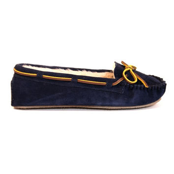 Minnetonka Cally - Navy Suede Pile-Lined Moccasin