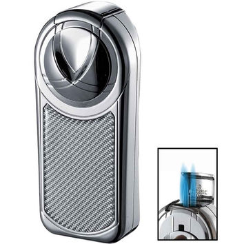 Visol Dobrev III Triple Jet Flame Chrome White Carbon Fiber Cigar Lighter