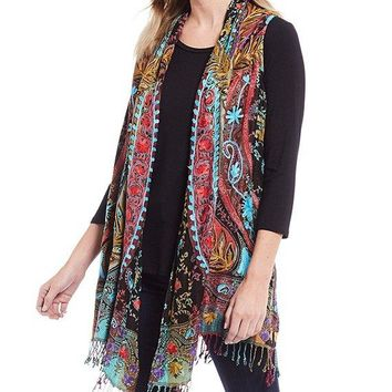 Open Front Shawl Collar Embroidery Jacquard Vest