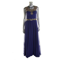 Marchesa Notte Womens Silk Embellished Evening Dress