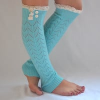 leg warmers - machine knit mint green leg warmers with cotton lace and buttons boot socks boot cuffs valentines day gifts birthday gifts
