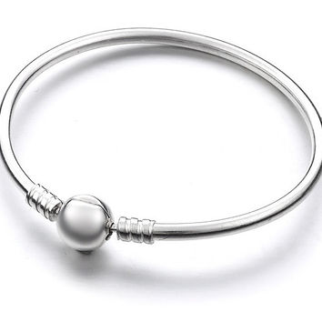 925 Sterling Silver Bangle Bracelet for Beads / Charms 19 cm