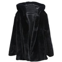 Hooked Md-long Black Faux Fur Coat With Hood