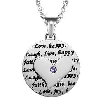 Adorable Heart Inspirational Medallion Live Love Laugh Faith Amulet Cute Purple Crystal 18 Inch Necklace