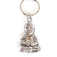 Buddha, Keychain, Spiritual, Yoga, Buddhism, Meditation, Unique, Gift For Her or Him, Under 10 Item W51