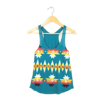Aztec Pattern - Racerback Hand Stenciled Slouchy Scoop Neck Women's Swing Tank Top in in Teal and FIre - XS S M L