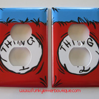 Dr. Seuss Thing 1 Thing 2 Hand Painted Wall Outlet Plate