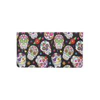 Colorful Sugar Skulls On Black Checkbook Cover
