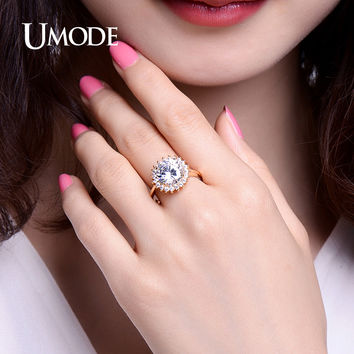 UMODE Round Cut CZ Micro Stones Engagement Rings for Women Christmas Gifts Halo Wedding Ring Vintage Jewelry Bague Femme UR0364A