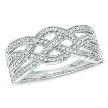 1/10 CT. T.W. Diamond Loose Braid Band in 10K White Gold