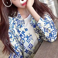 """Louis Vutitton"" Women Casual Fashion Logo Letter Print Lapel Shirt Long Sleeve Cardigan Tops"