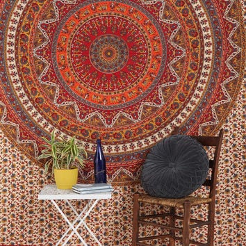 Big Indian Hippie Mandala Tapestry Elephant Wall Hanging Tapestries Queen Throw Ethnic