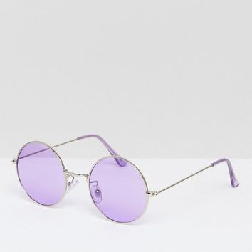 Jeepers Peepers Oversized Rounds with Lilac Lens at asos.com