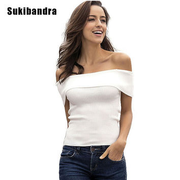 Sukibandra New Arrival Knit T Shirt Sexy Off Shoulder Crop Top for Women Ladies Black White Striped Summer Female Casual T-shirt
