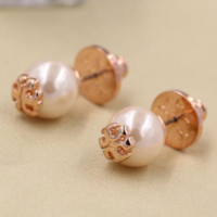 TORY BURCH Pearl logo with simple ear nail earrings Rose gold